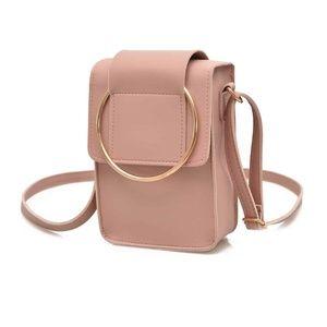 pink faux leather mini crossbody bag